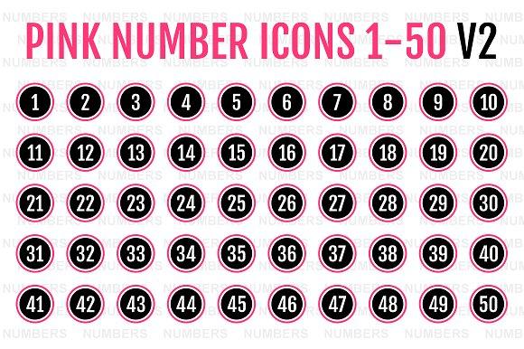 Pink Number Icons 1-50 V2