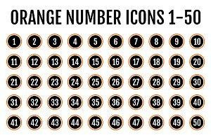 Orange Number Icons 1-50 v2