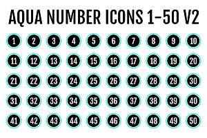 Aqua Number Icons 1-50 v2