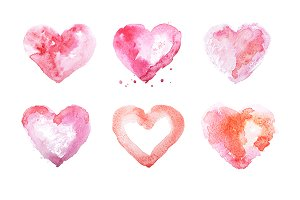 Watercolor heart hand drawn illustration aquarelle painting