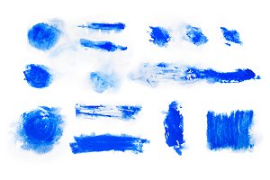 Blue paint watercolor aquarelle stains splatter splashes with rough strokes and edges in grunge style.