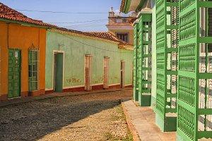 Cobblestone street in Cuba