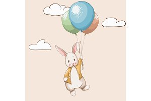 Cute rabbit flying with balloons