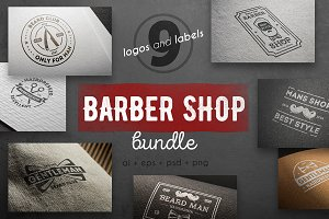 Barber shop logo kit
