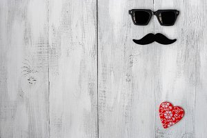 Mustache, glasses and hearts