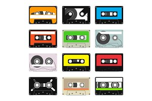 various vintage audio tapes