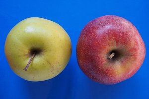 yellow and red apple fruit food over blue