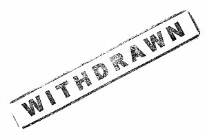 Withdrawn stamp on paper isolated over white