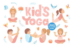 Yoga kids set. Vector illustrations.