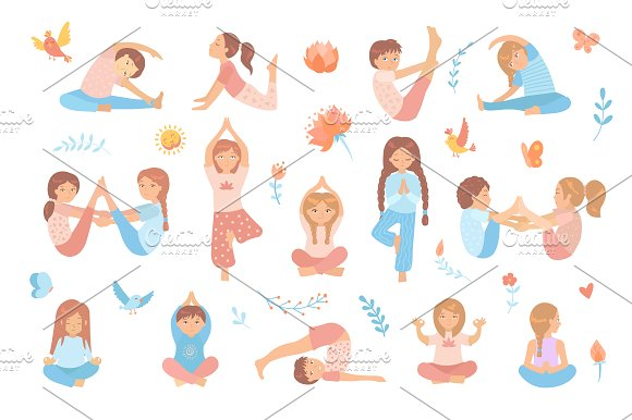 Yoga Kids Set Vector Illustrations Creative Market