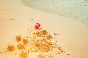 Sand castles on a beach