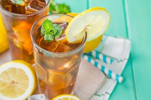 Iced tea in glasses