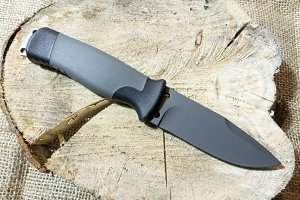 Black blade. Outdoor knife.