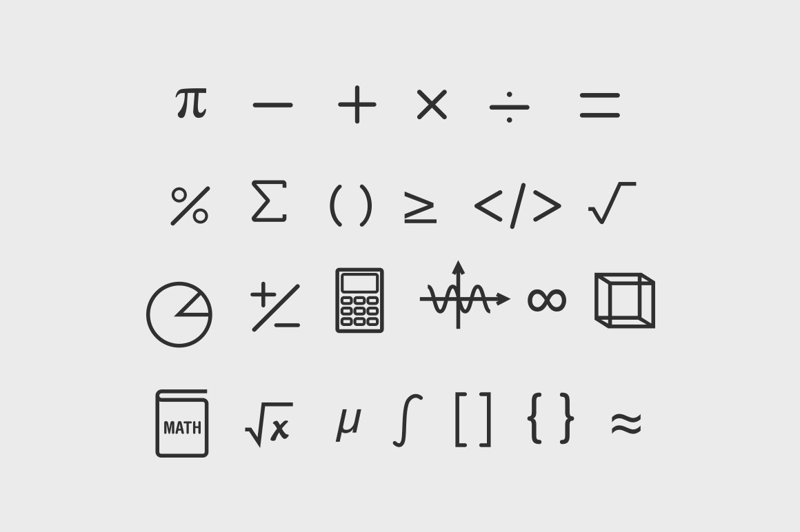 25 math symbol icons icons creative market biocorpaavc Image collections
