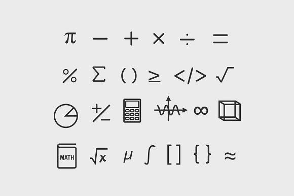 25 Math Symbol Icons Icons Creative Market