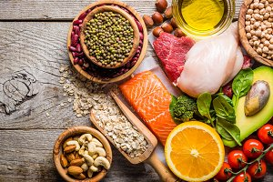 Selection of food that is good for the health and skin