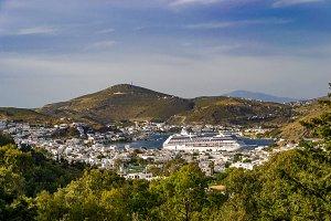 Patmos Bay with Cruise Ship
