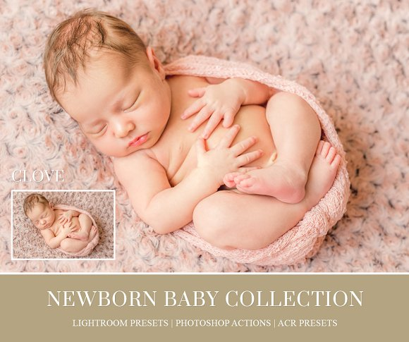 Newborn baby lightroom presets actions creative market