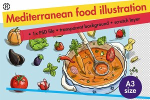 Mediterranean food illustration