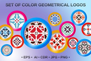 12 color geometrical logos