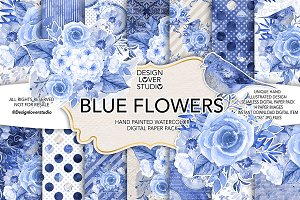 Watercolor BLUE FLOWERS DP pack