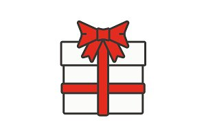 Gift box with ribbon icon. Vector