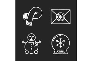 Winter season. 4 icons. Vector