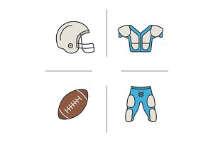 American football equipment. Vector