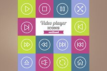 Outlined video player icons