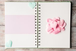 Pink pastel hearts and purple blank card ring binder