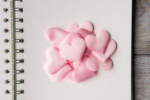 Pink hearts on blank page. Valentine's day