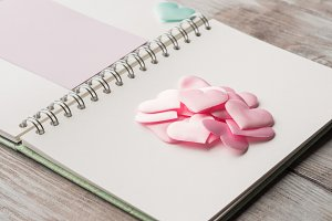 Pink pastel hearts and purple blank card