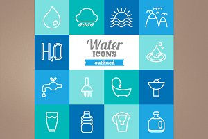 Outlined water icons