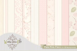 Pale Pink Flora Digital Backgrounds
