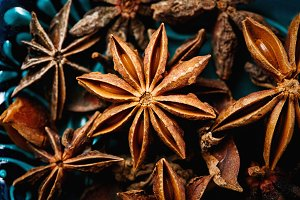 Anise star spice extreme close-up
