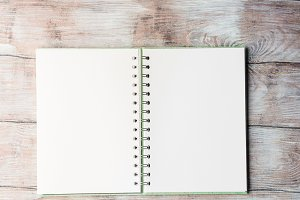 Open notebook blank page to fill with text