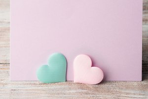 Pink and green pastel hearts purple card