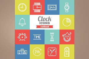 Outlined clock icons