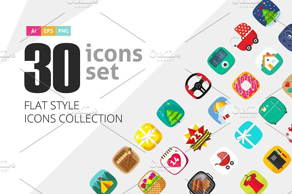 Flat Vector Icons Collectio-Graphicriver中文最全的素材分享平台