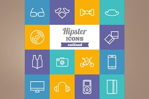Outline hipster icons