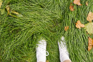 White Shoes in Green Grass