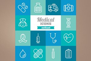 Outlined medical icons