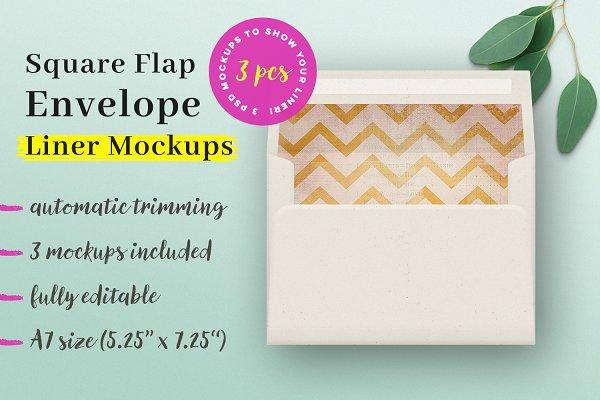 3 Square Flap Envelope Liner Mockup…