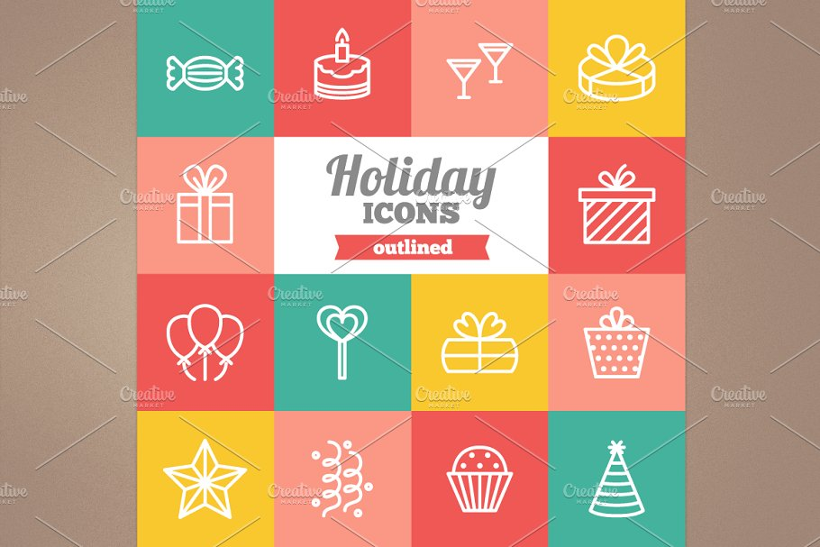 Outlined holiday icons