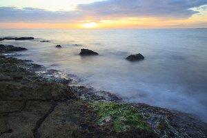 Sea coast at sunset