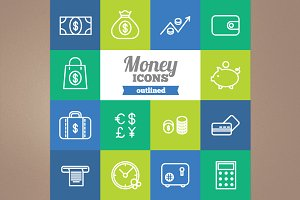 Outlined money icons