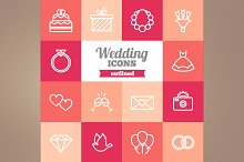 Outlined wedding icons