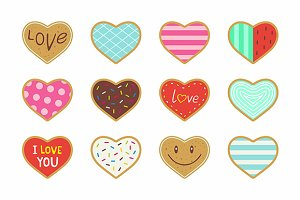 Heart shaped cookies + pattern