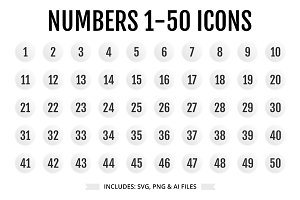 Numbers 1-50 Light Color