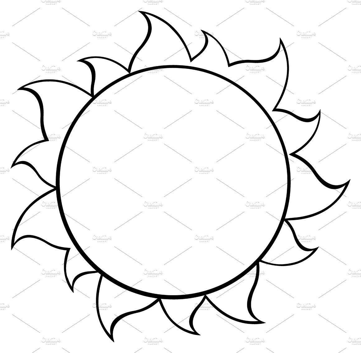 Black and white simple sun illustrations creative market